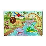 Blived Alfombra de baño Alfombra,Safari de Dibujos Animados Animales africanos Nadando en el Lago Elefante Leones y Jirafa Arte Alfombra de baño 75cmx45cm