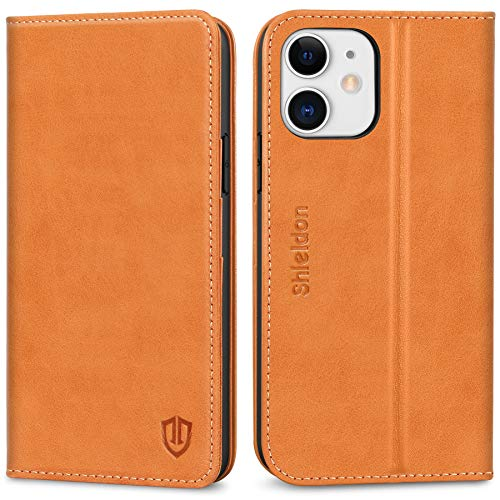 "SHIELDON Case for iPhone 12/12 Pro, Genuine Leather Wallet Folio Case RFID Blocking Card Holder Kickstand Shockproof Protection Case Compatible with iPhone 12/12 Pro 5G 6.1"" 2020 - Brown"