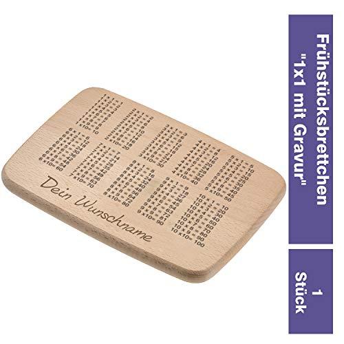 Personalisiertes Frühstücksbrettchen 1x1 Schulanfang für Kinder Holzbrett mit Namen zum Lernen Brotzeitbrett mit Lerneffekt - Schönes Geschenk zur Einschulung für Jungs und Mädchen 22 x 15 x 1,5cm