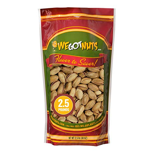Turkish Antep Pistachios - 2.5 lbs (40oz) Premium Quality Kosher Roasted Pistachios By We Got Nuts - Natural & Healthy Rich Flavor Snack - Whole & Salted – Air-Tight Resealable Bag Package…