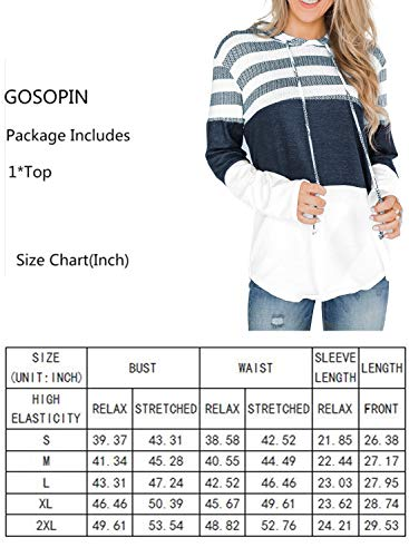 GOSOPIN Womens Casual O-Neck Blouse Jumpers Loose Autumn Pullover Shirts Long Tunic Tops Patchwork Sweatshirts with Drawstring Green UK 8