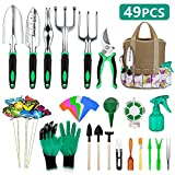49 Pcs Garden Tools Set, Extra Succulent Tools Set, Heavy Duty Gardening Tools Aluminum with Soft Rubberized Non-Slip Handle Tools, Durable Storage Tote Bag, Gifts for Men Women