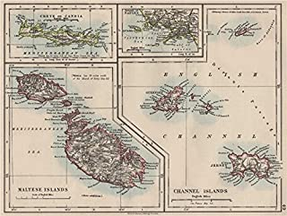 EUROPEAN ISLANDS. Malta Gozo Crete Capri Jersey Guernsey Sark. JOHNSTON - 1900 - old map - antique map - vintage map - printed maps of Greece