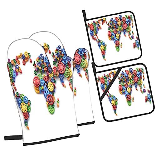 Lámina artística Industrial Gear Map,4Pcs Guantes de Cocina y Juegos de Soportes para Macetas,con Caliente Almohadillas para Cocinar,Hornear,Asar a la Parrilla Guantes