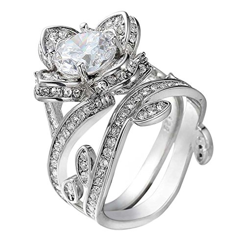 Rose Zirkon Schmuck Ring YunYoud Damen Ringe schöne verlobungsringe Eheringe trauringe partnerringe freundschaftsringe silberschmuck silberring günstige modeschmuck fingerringe