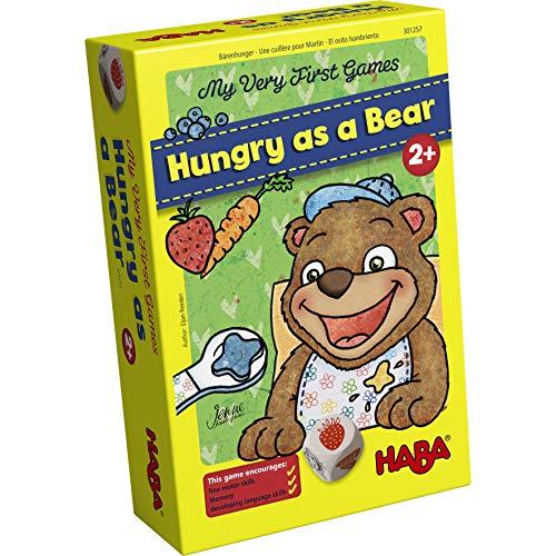 HABA 301257 300171 - Meine ersten Spiele – Bärenhunger | Lustige Spielesammlung für 1-3 Spieler ab 2 Jahren | Mit süßem Bären-Aufsteller zum Füttern