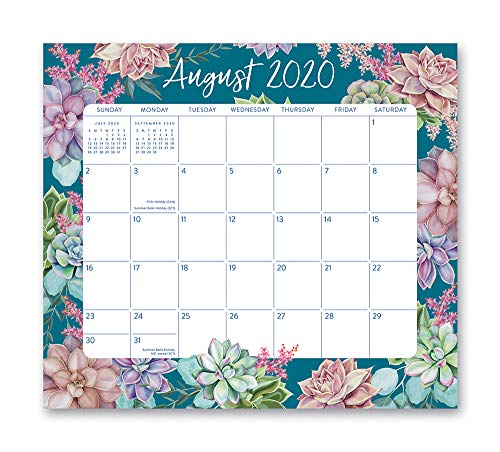 Magnetic Monthly Calendar Pad 2021 in Succulent Garden by Orange Circle Studio - 8' x 10' 17-Month Daily Planner & Organizer with Magnetic Tab - Hang on Fridge, Cabinet or for Desktop