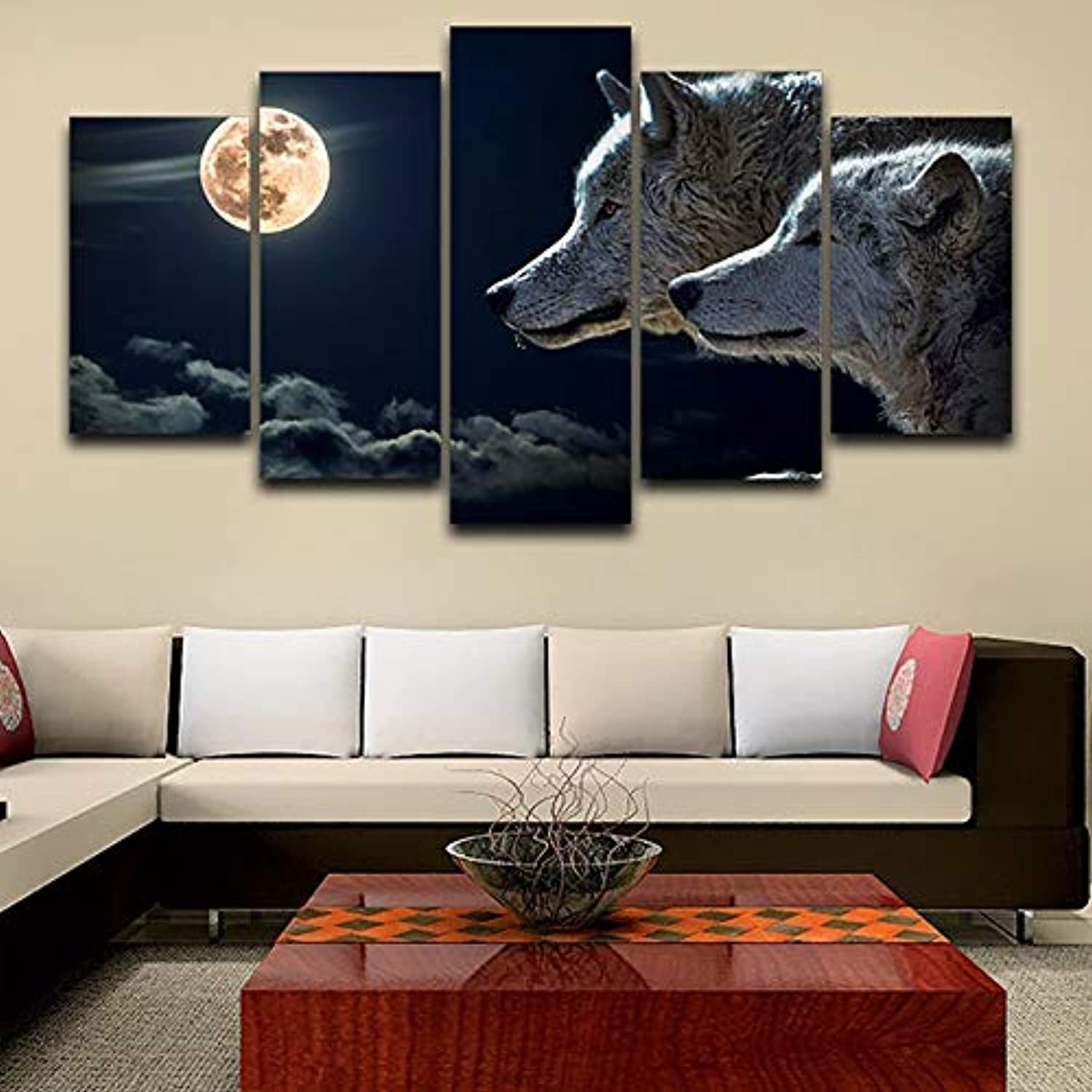 Decoration Posters Frame Living Room HD Printed 5 Piece Pcs Wolves Moon Modular Picture Wall Art Home Modern Painting On Canvas