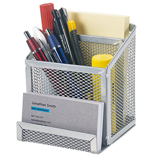 Bonsaii Home office Metal Mesh Desktop Organizer 3 Divided Compartments,Sliver(W6024)