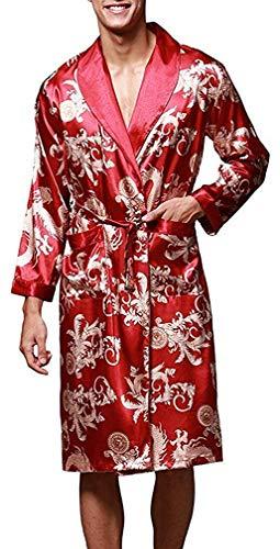 HAINE Pflegeleichte Bademantel aus Poly-Baumwolle für Herren (Rot Large)