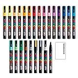 三菱鉛筆 ポスカ 水性サインペン 細字丸芯 PC-3M 全24色セット + ロコネコ試筆用紙セット