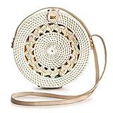 Rattan Bags for Women - Handmade Wicker Woven Purse Handbag Circle Boho Bag Bali (White Pattern)