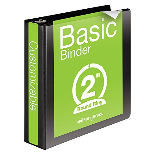 Wilson Jones 3 Ring Binder 2 Inch, Round Ring View Binder, Basic, 362 Series, Customizable, Black (W362-44B)
