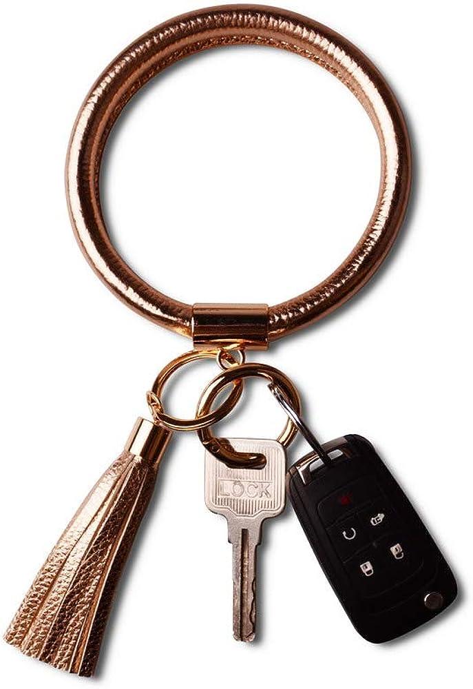 Lantintop Wristlet Keychain Bracelet Bangle Keyring Leather Round Tassel Keychain for Women Girl