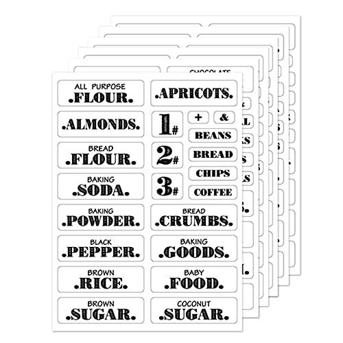 Laoonl - Etichette per dispensa, per la dispensa, trasparenti, impermeabili, per dispensa, etichette per alimenti