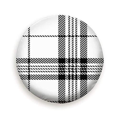 YAGEAD Reifenabdeckung Schwarz Weiß Tartan Plaid Schottische Reifenabdeckung Polyester Universal Reserverad Reifenabdeckung Radabdeckungen für Anhänger Wohnmobil SUV LKW Wohnwagen Zubehör