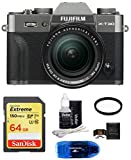 FUJIFILM X-T30 Mirrorless Digital Camera with XF 18-55mm Lens (Dark Silver) Bundle, Includes: SanDisk 64GB Extreme SDXC Memory Card, Card Reader and More
