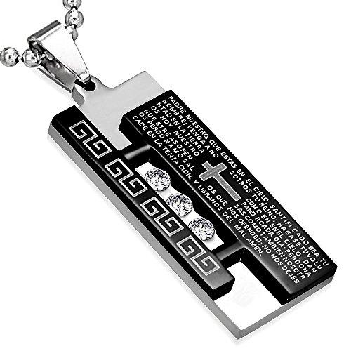 My Daily Styles - Collana con ciondolo a forma di croce religiosa spagnola, in acciaio INOX, colore: nero, argento, 61 cm