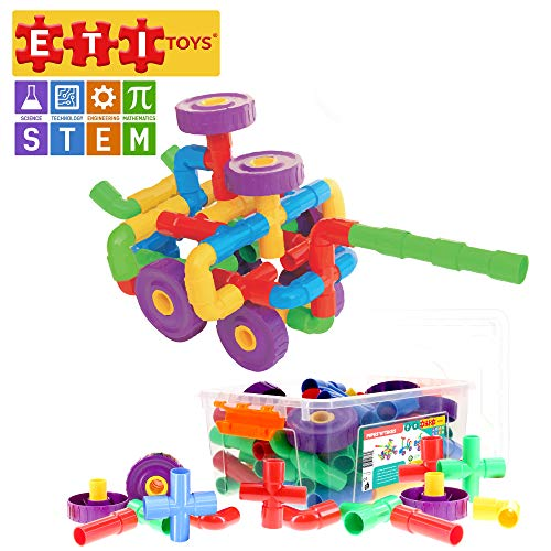 ETI Toys, STEM Learning, 64 Piece PipesNTikes. Build Bicycle, Tank, Scootie, Endless Designs. 100 Percent Safe, Fun, Creative Skills Development. Gift, Toy for 3, 4, 5 Year Old Boys and Girls.