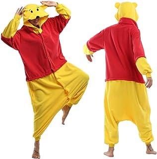 HQ-PJS Pijamas de una Pieza Traje Mono Navidad Bodies Capucha Michael Wazowski Pijamas De Cosplay Dibujos Animados Winnie Pooh Winnie The Pooh Tigger Piglet (Color : Winnie Pooh Bear, Size : S)