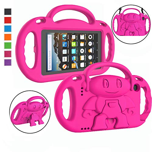 LTROP Kids Case for Amazon Kindle Fire 7 Tablet (9th Generation - 2019 Release) - Shockproof Handle Friendly Kids Stand Case with Shoulder Strap for All-New Amazon Fire 7 2019 & 2017 - Rose