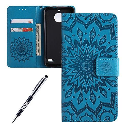 Kompatibel mit Moto E4 Hülle,JAWSEU Sonnenblume Schutzhülle Brieftasche Hülle Leder Tasche Handyhülle LederHülle Flip Hülle Wallet Tasche Handytasche für Moto E4,Mandala Blau