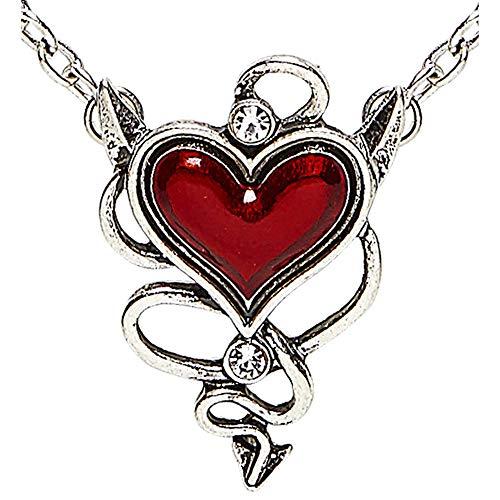 Widmann 46756 46756-Halskette, mit teuflisch roten Herzjuwel, Schmuck, Kostümaccessoire, Teufel, Mottoparty, Karneval, Damen, mehrfarbig, Taglia unica