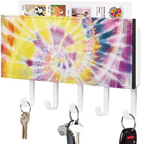 Functionele sleutelhakensleutelhouder wandgemonteerde sleutelhaak psychedelische Tie Dye Fantasy Design Wall Entryway mailhouder decoratieve sleutelorganizer rek met 5 hakenwitpatroon2