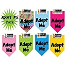 7 PACK BANDANAS - Adopt Me Pack, One Size Fits Most for Medium to Large Dogs