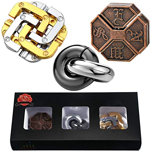 3 Pieces Brain Teaser Metal Puzzle Toy Handheld 3D Unlock Interlocking Puzzle Funny Metal Knot Puzzle Mind Games for Adults Teens Educational Toy