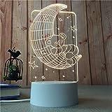 Lámpara de Mesa Creativa LED Moderna Minimalista luz de Noche niña corazón posando Estilo lámpara Luna Oso 3