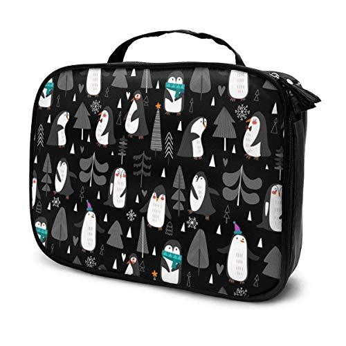 Lindos pingüinos y árboles de Navidad. Estuche de viaje para tren de...