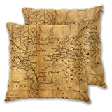 PMHGJDSVFSD Throw Pillow Cover Case,Ancient Map of North and South America Africa and Europe,Modern Pillowcase for Sofa Couch Bed Car Set Home Decor 18'x 18' Pillowcase Cushion Covers Zipper 2pcs