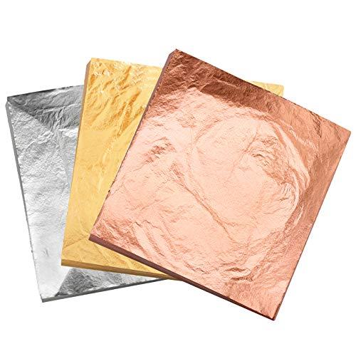 VGSEBA Pan de Oro de Imitación Decorativo para Manualidades, Muebles 5.5x5.5pulgadas 300 hojas