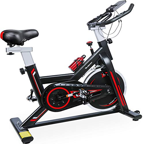 TELESPORT Indoor Cycling Bike, Cardio Workout Fitness Spinning Bike Quiet Belt Drive Exercise Stationary Bicycle, Stable Flywheel/Adjustable Seat & Handle/LCD Monitor with iPad Holder (black2)