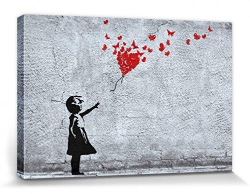1art1 Mädchen - Mädchen Mit Luftballon Und Schmetterlingen, Banksy-Style Bilder Leinwand-Bild Auf Keilrahmen | XXL-Wandbild Poster Kunstdruck Als Leinwandbild 120 x 80 cm