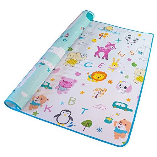 Alea Baby® Tappeto Neonato Gattonamento Ripiegabile (con borsetta) Gioco e Divertimento Bambini con tanti Colori - Certificato CE (Bianco/Turchese)