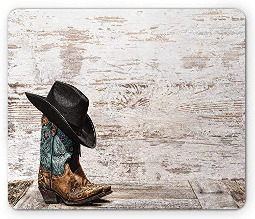 Western Mouse Pad, traditioneller Rodeo-Cowboyhut und Cowgirl-Stiefel Retro-Grunge-Hintergrund-Kunstfoto, Rechteck-Rechteck-Rutschgummi-Mousepad, braun-schwarz