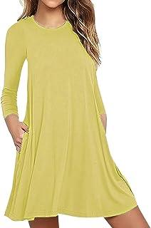TIMEMEAN Solides Langarm-Kleid für Damen Lässige Taschen Maxikleider Loose T-Shirt Kleid