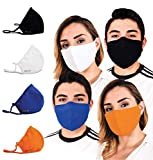 Face Mask for Protection with BFE99 Built-In Filters; Washable, Reusable & Size-Adjustable (4 Pcs Assorted Colors (Adult))