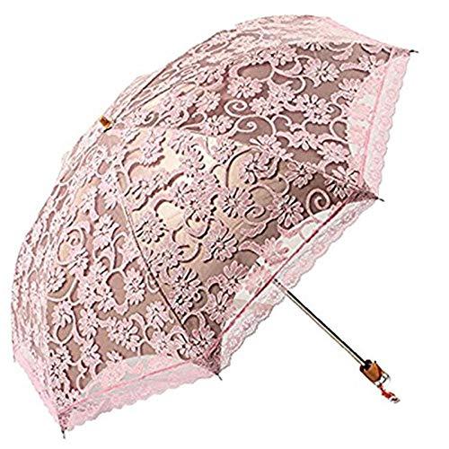 Sonnenschirm Regenschirm Prinzessin Sonnenschirm Spitze Sonnenschirm Regenschirme Gewölbt Uv Creative Folding Sunny Frauen Regenschirm Rosa