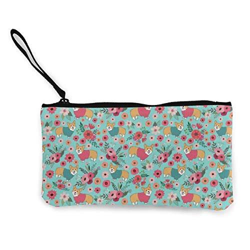Monedero de lona para mujeres y niñas, bolsa de cambio de cremallera con correa