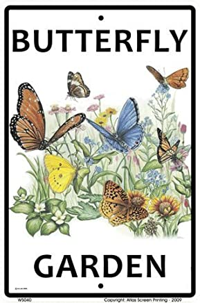 "CROSSWALKS Butterfly Garden 10"" X 15"" Aluminum Sign"