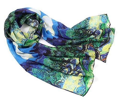 prettystern 160 cm Mujer Bufanda de seda Van Gogh Las impresiones de obras de arte los olivos p936