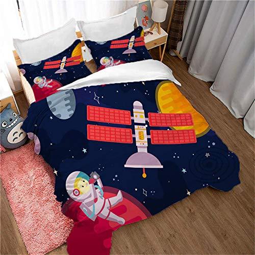 ZSDFPW Funda nórdica Impresa en 3D Astronauta satélite Rojo Amarillo Negro Microfibra Ropa de Cama 3 Piezas 240cmx220cm con 2 Fundas de Almohada 50cmx75cm para Adolescentes Niñas Regalo