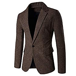 CATSAP Mens Blazer Jacket Long Sleeve One Button Slim Fit Casual Solid Suit Separate Jacket Coat