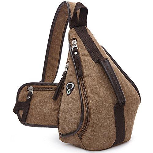 Gendi unique épaule pochette triangulaire incliné sacs à glissière couleur solide must-have sac de voyage de loisirs de mode (Marron foncé)