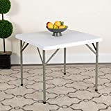 Flash Furniture 2.85-Foot Square Granite White Plastic Folding Table