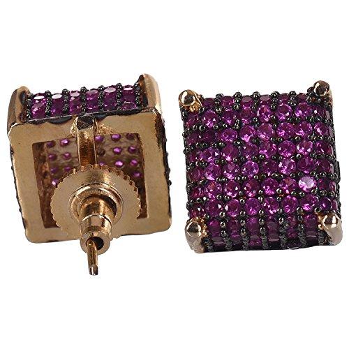 Ratnavali Jewels American Diamond CZ Ruby Rani Stud Tops Earring For Girls/Women (RV1701R)