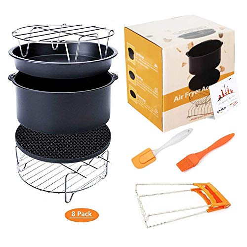 Deep Fryers Universal Air Fryer Accessories Including Cake Barrel,Baking Dish Pan,Grill,Pot Pad, Pot Rack with Silicone Mat by Bellagione (7 inch 8 PCS)